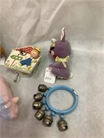 Vintage baby rattles, toys & more