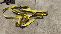 Lot with straps, clevis's and 4 chains with