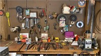 Large tool lot including wrenches, 1/2 HP bench