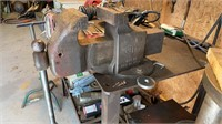 Heavy duty welding table with drill press, vise