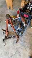Lot of tools including power tools, files, levels