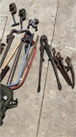 Lot of miscellaneous tools, pipe wrenches, pipe