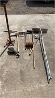 Lot of tools with picks, pulley, axes, snow rake
