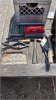 Crate of masonry tools
