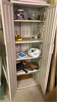 Plastic storage cabinet with contents