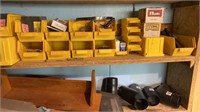 Lot with ladder, bar clamps other wood working