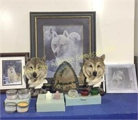 Wolf Decor Framed Picture, Book Ends, Party Light