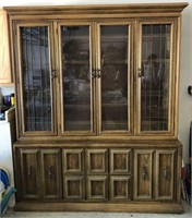 Pecan Finish Lighted China Cabinet by Globe