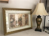 Gold Trimmed Framed Print & Lamp