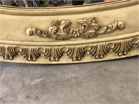 Cream Colored Beautifully Carved Wood Mirror