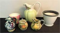 Large Assortment of Stoneware & Ceramic Pitchers