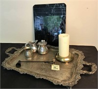 Silver over Copper Serving Tray, Pewter and More