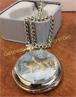 Hautman Brothers Collectable Wolf Pocket Watch