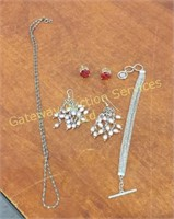 Earrings (2) Sets and 2 Chains