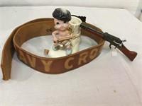 Davey Crocket vintage leather belt and more