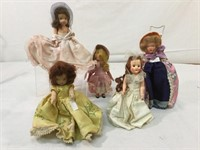 Collection of composition mini dolls