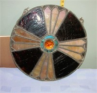 """Antique Stain Glass Wall Hanging 14"""" Round"""