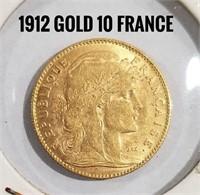 1912 Gold France 10 Fr