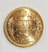 1904 Tunisia 20 Franc Gold