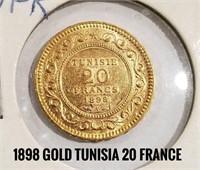 1898 Gold Tunisia 20 Franc