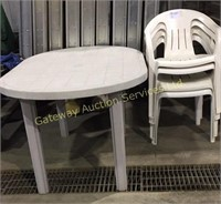 Plastic Outdoor Table with 4 Chairs