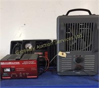 Optimus Heater, Motomaster Battery Charger,