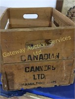 Vintage Wooden Box with Assorted Cans, Wall....