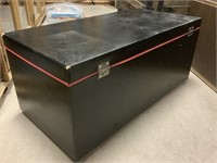 Black w/ red piping vintage toy box
