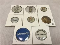 Political button pins, vintage Kennedy & more