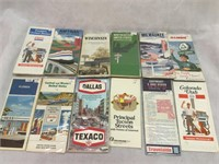 Assortment of vintage maps, Amtrak, state maps
