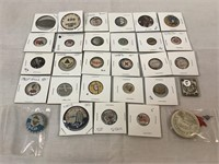 Assortment of vintage pins, Red Cross & more
