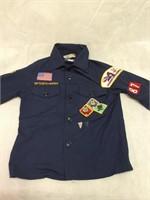 Boy Scout shirt w/badge,3-sashes & dufflebag