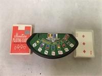 Xandu quartz mini clock w/ MOP face & mini cards
