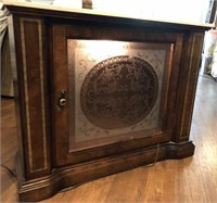 Lighted Console with Marble Top and Inlay