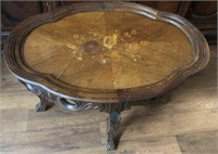 Antique Coffee Table w Glass Top