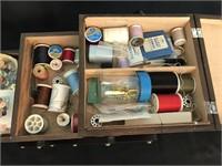 Vintage Wood Sewing Basket Filled w/Sewing Notions