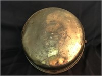 Large Copper Bucket w/Handle & Brass Candle Holder