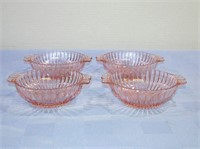 """Pink Depression Queen Mary Berry Bowls Set of 4 6"""""""