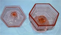 """Pink Depression Covered Candy Dish 7"""" T 5.5"""" W"""