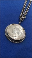 1922 Peace Dollar And Chain