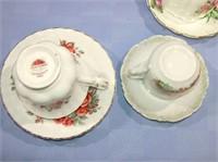 Vintage Porcelain Cups & Saucers set of 6