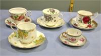 Vintage Porcelain Cups & Saucers set of 5