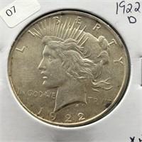 1922 D PEACE DOLLAR  XF