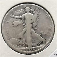 1936 D WALKING HALF DOLLAR  VG