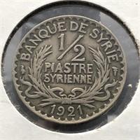 SYRIA 1921 SILVER 1/2 PIASTRE  VF