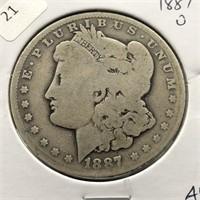 1887 O MORGAN DOLLAR  AG