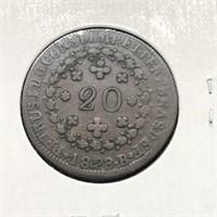 1828 BRAZIL 20 REIS  VG