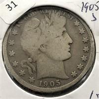 1905 S BARBER HALF DOLLAR  G