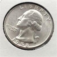 1958 WASHINGTON QUARTER  GEM