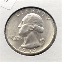 1959 D WASHINGTON QUARTER  GEM